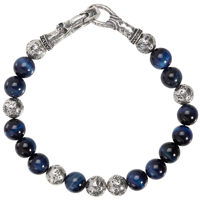 John Varvatos HAWKS EYE AND SILVER Bead Bracelet with Skull Clasp