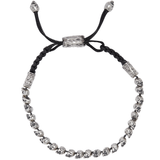 John Varvatos SKULL BEAD Silver Adjustable Mens Bracelet