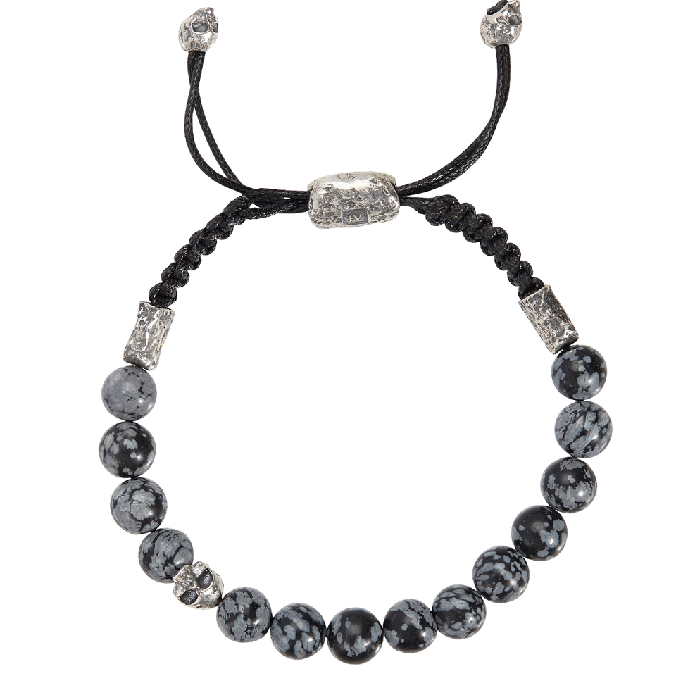 John Varvatos OBSIDIAN BEAD Adjustable Bracelet with Silver Skulls