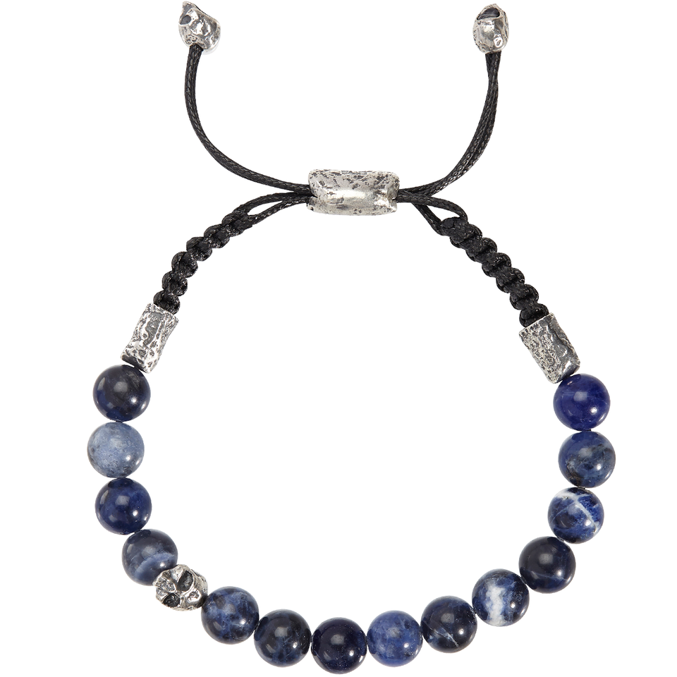 John Varvatos BLUE SODALITE Adjustable Mens Bead Bracelet with Skull