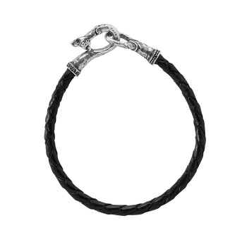 John Varvatos SILVER AND BLACK LEATHER Mens Bracelet with Skull Clasp