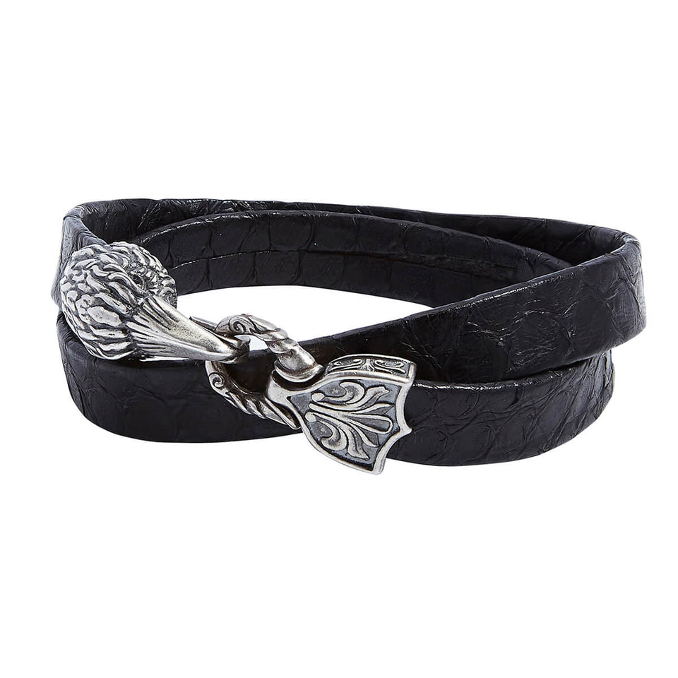 John Varvatos SILVER RAVEN LEATHER Double Wrap Bracelet for Men
