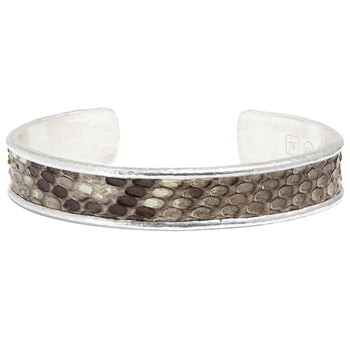 John Varvatos SNAKE SKIN Cuff Bracelet for Men in Sterling Silver