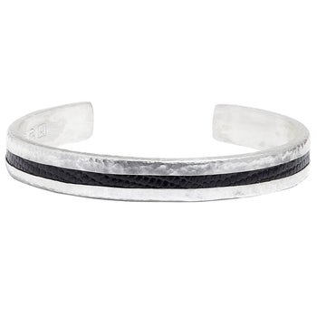 John Varvatos BLACK IGUANA SKIN THIN Cuff Bracelet for Men