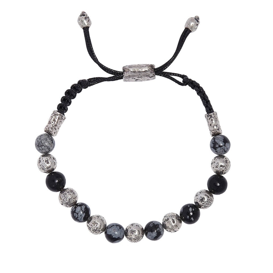 John Varvatos SILVER AND OBSIDIAN BEAD Adjustable Mens Bracelet