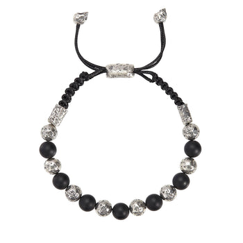 John Varvatos SILVER AND BLACK ONYX BEAD Adjustable Mens Bracelet
