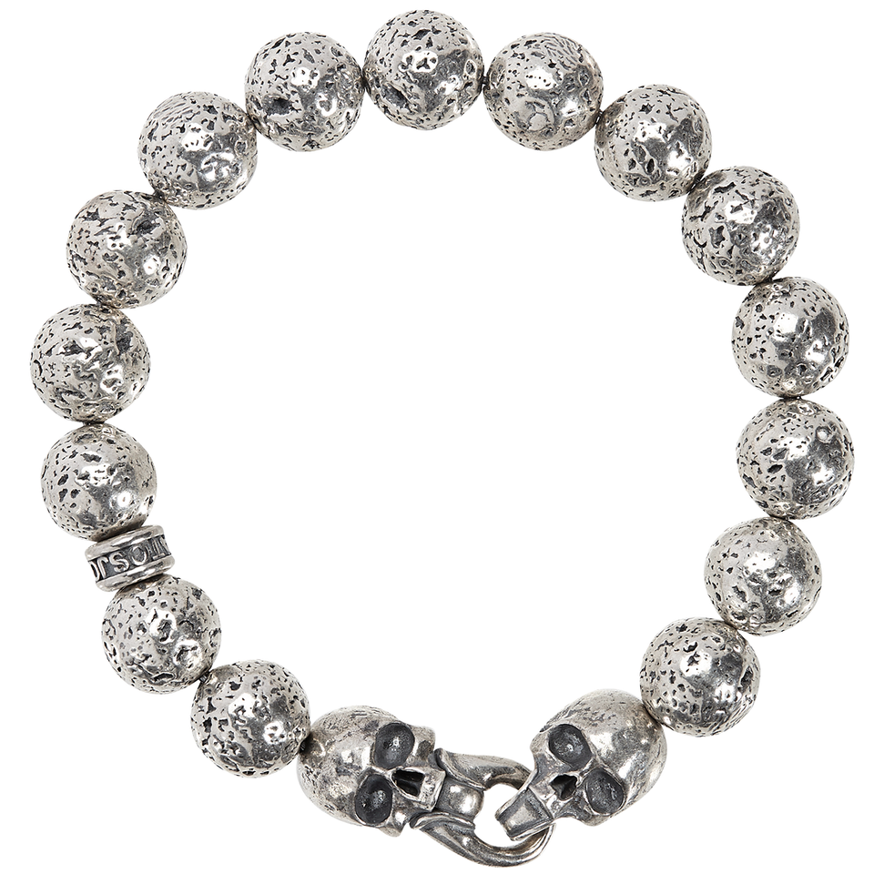 John Varvatos SILVER BEAD SKULL Mens Bracelet with Rugged Silver Beads