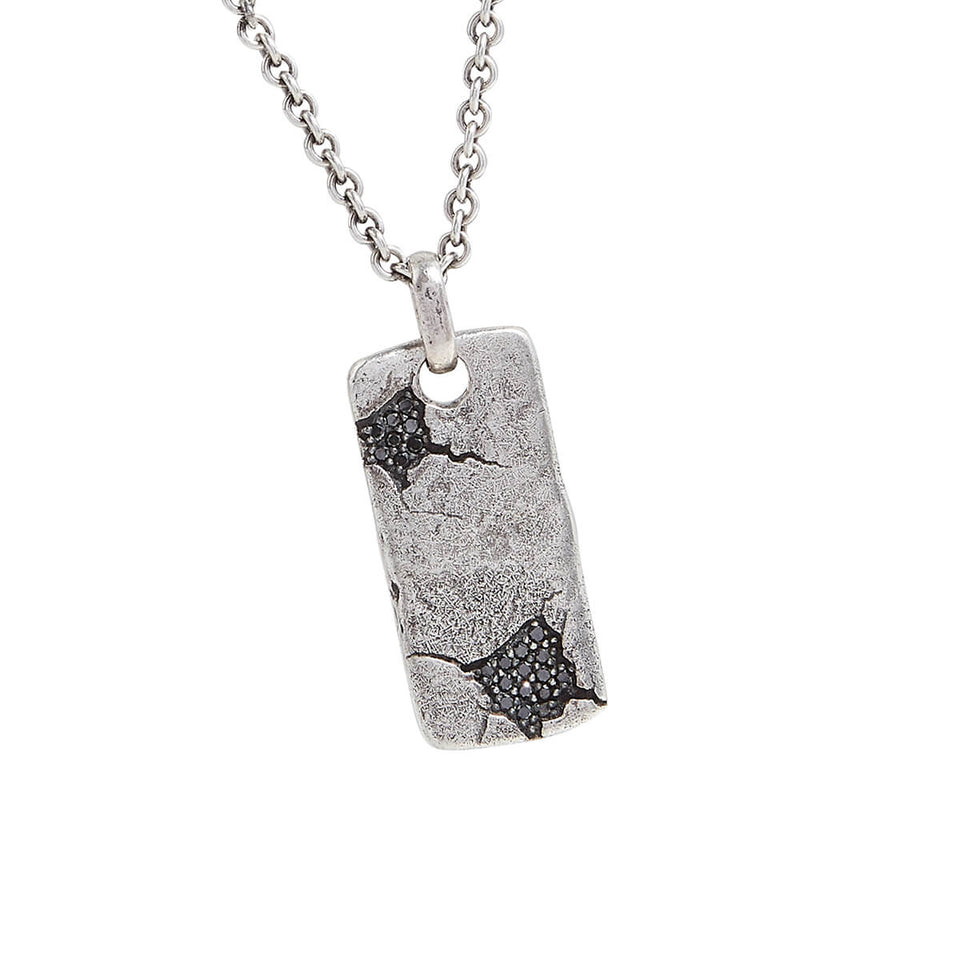 John Varvatos SHATTERED DOG TAG Necklace in Silver with Black Diamonds