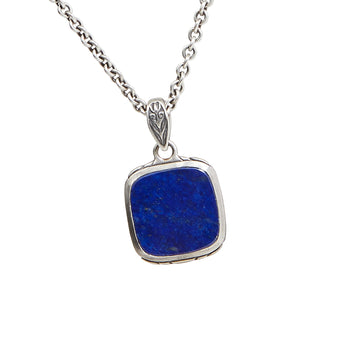 John Varvatos BLUE LAPIS MEDALLION Chain Necklace for Men in Sterling Silver