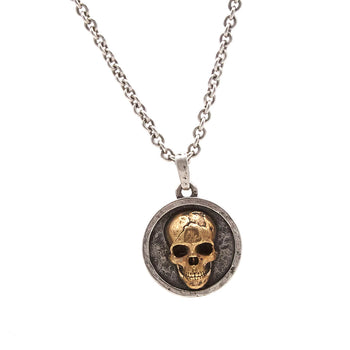 John Varvatos BRASS SKULL MEDALLION Mens Necklace with Silver Chain