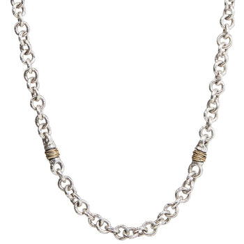 John Varvatos SILVER WIRE OVAL LINK CHAIN Hammered Mens Necklace