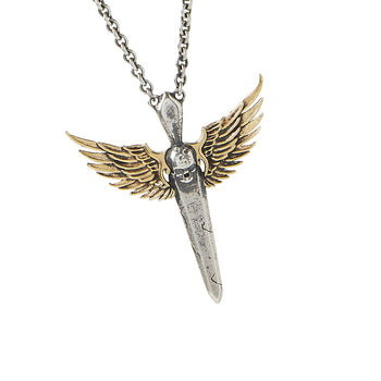 John Varvatos WINGED SKULL SWORD Mens Necklace in Silver and Brass