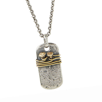 John Varvatos BRASS NAILS DOG TAG Sterling Silver Mens Pendant Chain