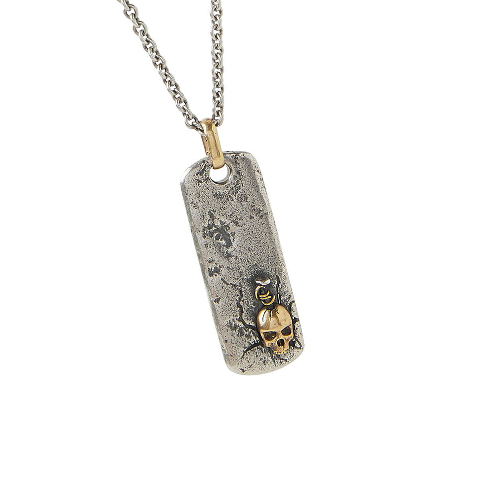 John Varvatos SPIKED SKULL DOG TAG Mens Chain in Silver and Brass