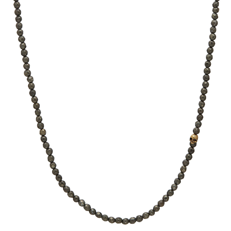 John Varvatos PYRITE BEAD NECKLACE for Men with Brass Skull