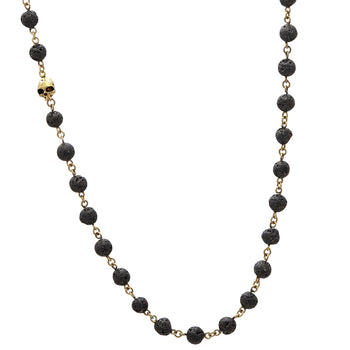 John Varvatos BRASS AND BLACK LAVA Bead Necklace for Men