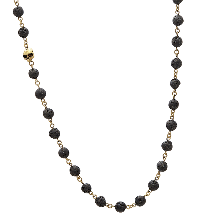John Varvatos BRASS AND BLACK LAVA Bead Necklace for Men with Skull