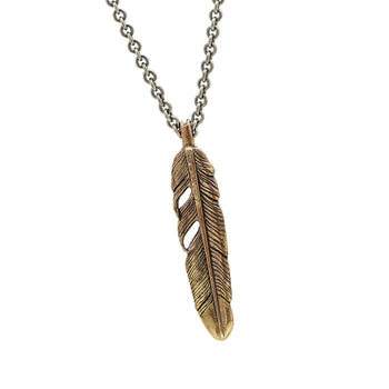 John Varvatos BRASS FEATHER Pendant Chain Necklace for Men