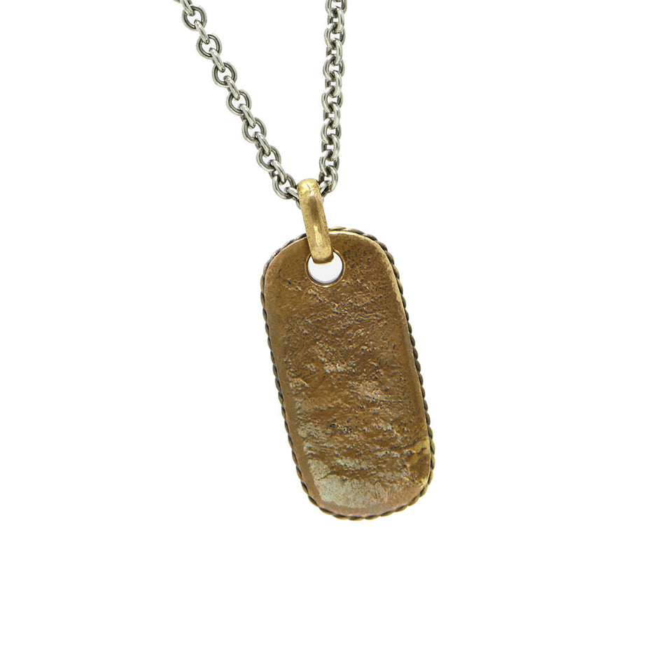 John Varvatos BRASS OVAL DOG TAG Chain Necklace for Men