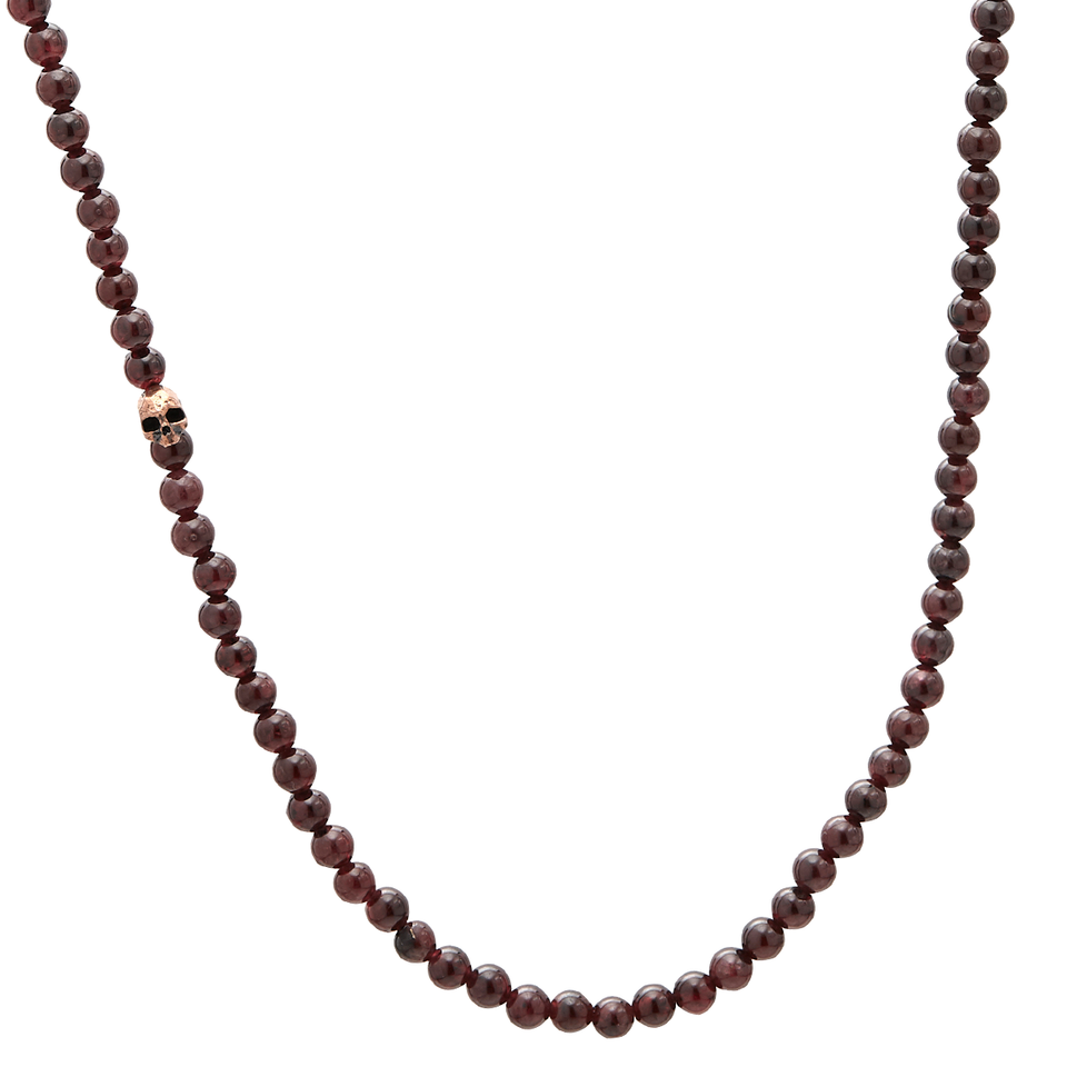 John Varvatos RED GARNET BEAD NECKLACE for Men with Bronze Skull