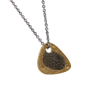 John Varvatos BRASS GUITAR PICK Mens Pendant Chain with Fingerprint