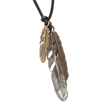 John Varvatos THREE FEATHERS Brass Silver and Bronze Leather Necklace