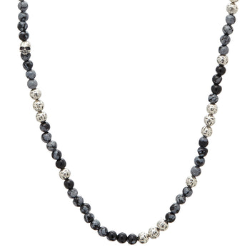 John Varvatos SILVER AND OBSIDIAN Bead Necklace for Men