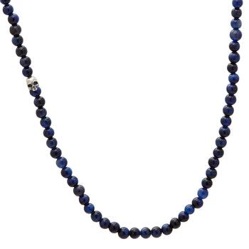 John Varvatos HAWKS EYE BEAD NECKLACE for Men with Silver Skull Bead