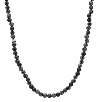 John Varvatos OBSIDIAN BEAD Necklace for Men with Silver Skull