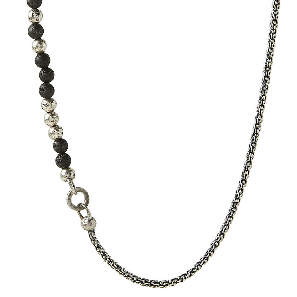 John Varvatos BEAD AND MODERN LINK Chain Necklace for Men with Silver