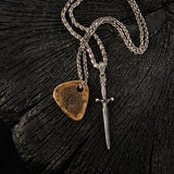 John Varvatos LONGSWORD NECKLACE for Men in Silver with Black Diamond