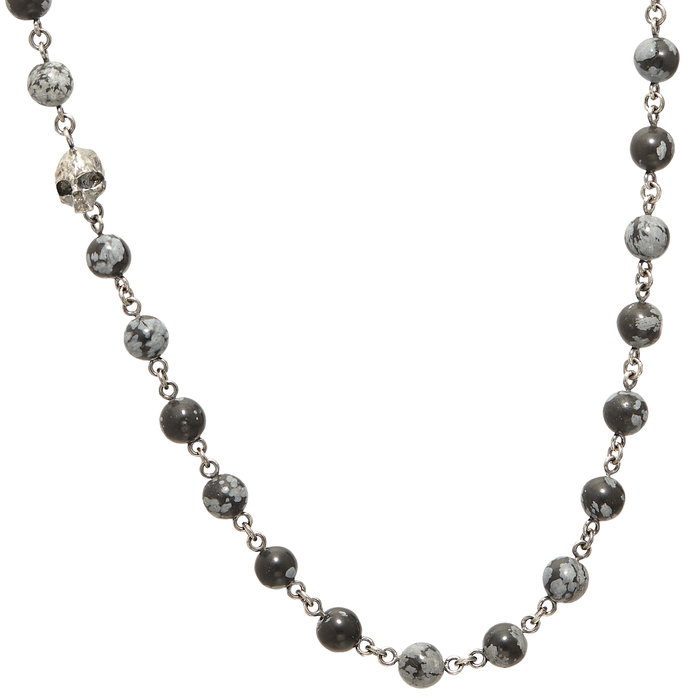 John Varvatos OBSIDIAN NECKLACE Mens Bead Chain with Silver Skull
