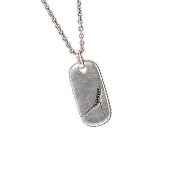 John Varvatos CRACKED OVAL DOG TAG Pendant Chain with Black Diamonds