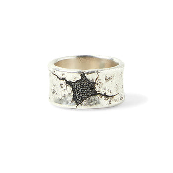 John Varvatos SHATTERED RING for Men in Silver with Black Diamonds