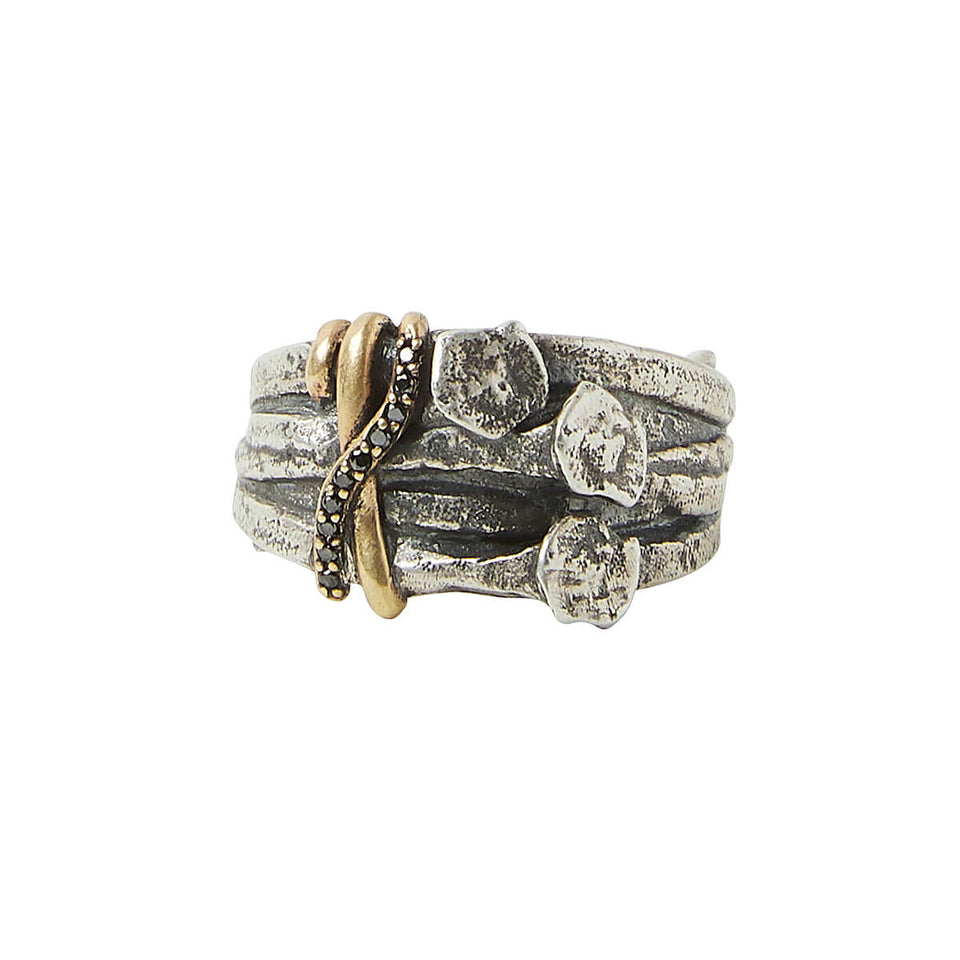 John Varvatos DIAMOND BOUND NAILS RING for Men in Silver and Brass