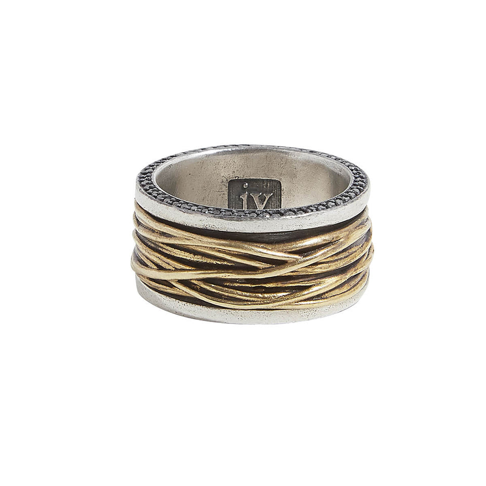 John Varvatos BRASS WIRE RING for Men in Silver with Black Diamonds