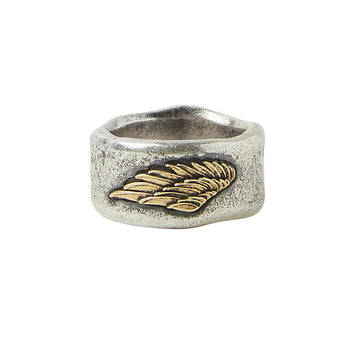 John Varvatos BRASS WING RING Sterling Silver Rugged Mens Band Ring