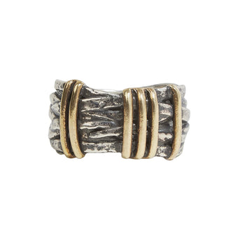 John Varvatos BRASS WIRE FUSION Sterling Silver Mens Ring