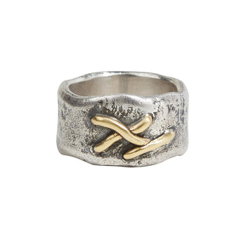 John Varvatos WOVEN WIRE RING Rugged Sterling Silver Mens Ring