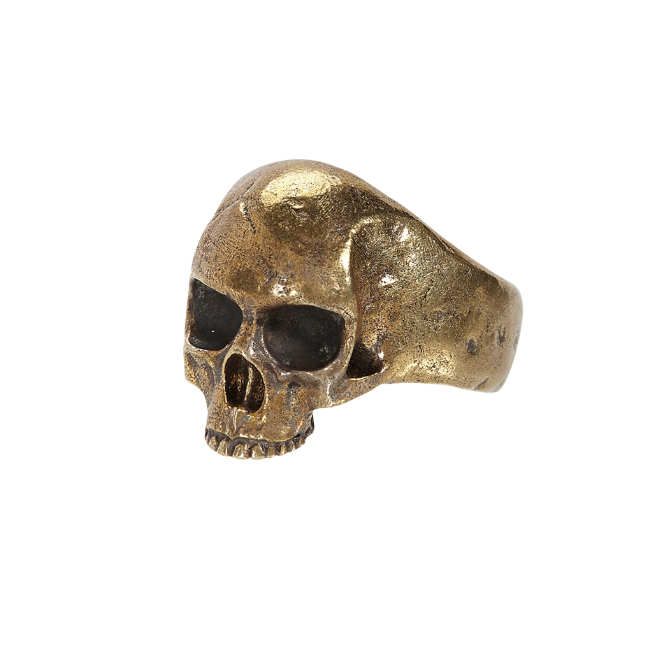 John Varvatos BRONZE SKULL RING Hammered Metal Mens Ring