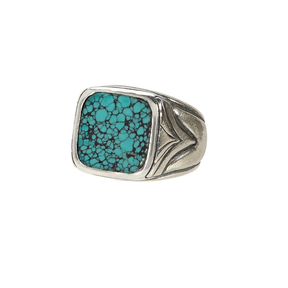 John Varvatos TURQUOISE RING Sterling Silver Classic Mens Ring