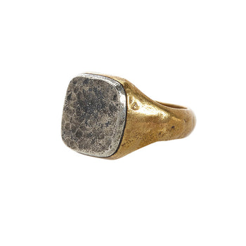 John Varvatos BRASS AND HAMMERED SILVER Signet Ring for Men
