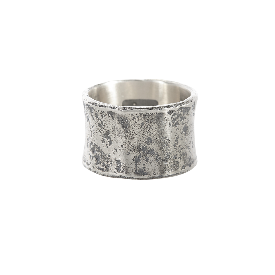John Varvatos HAMMERED WIDE BAND Mens Ring in Sterling Silver