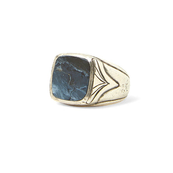 John Varvatos BLUE PIETERSITE RING Sterling Silver Classic Mens Ring