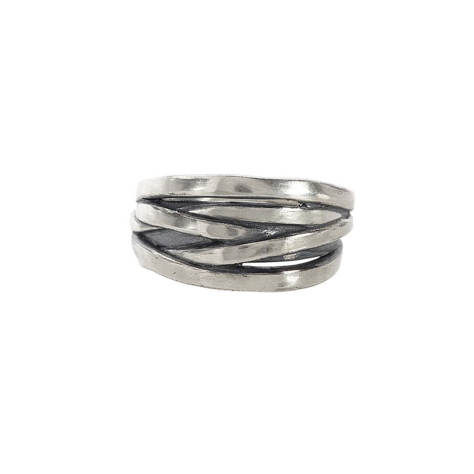 John Varvatos FUSION BAND Silver Ring for Men with Overlapping Bands