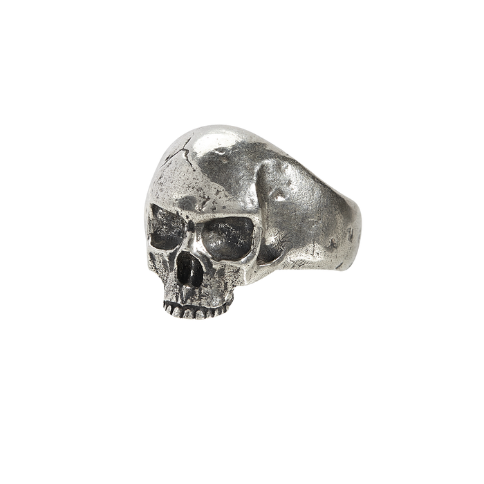 John Varvatos SILVER SKULL RING Hammered Metal Mens Ring