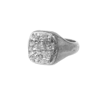 John Varvatos HAMMERED SILVER Signet Ring for Men