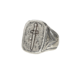 John Varvatos LONGSWORD RING Hammered Silver Mens Ring