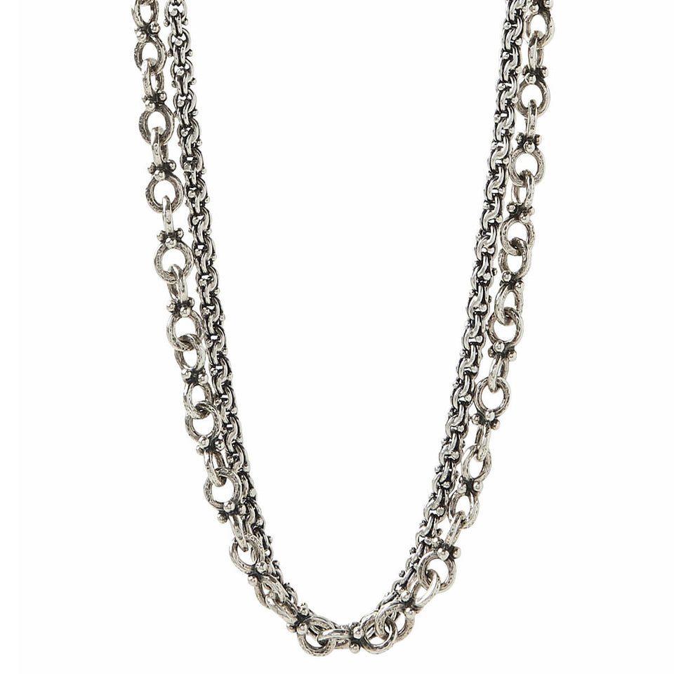 John Varvatos DOUBLE CHAIN Anchor and Modern Link Silver Mens Necklace