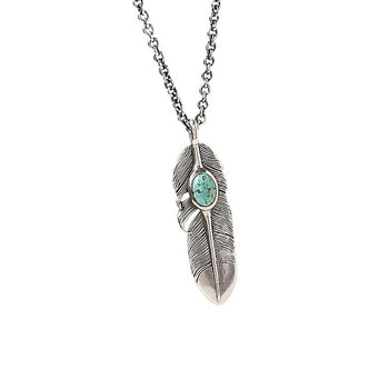John Varvatos TURQUOISE STONE FEATHER Silver Pendant Chain for Men